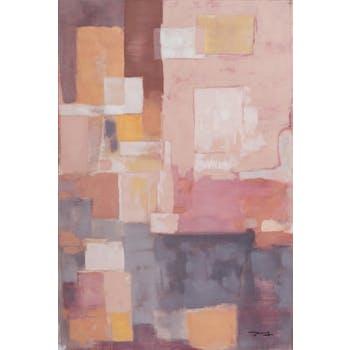 Tableau ABSTRAIT façon patchwork tons rosés, beiges, bruns et blancs 80x120cm