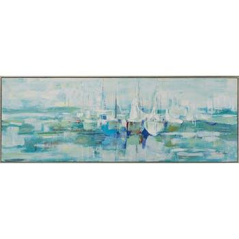 Tableau ABSTRAIT Bateaux tons bleus, verts, blancs et beiges 52x142cm