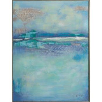 Tableau ABSTRAIT dominante bleue, tons blancs et beiges 92x122cm