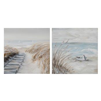Lot de 2 tableaux MARINE Bord de mer et banc de sable tons beiges, bruns, bleus et blancs 25x25cm
