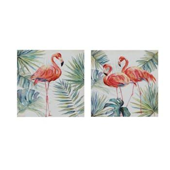 Lot de 2 tableaux ANIMAUX Flamants Roses et feuilles tropicales 25x25cm