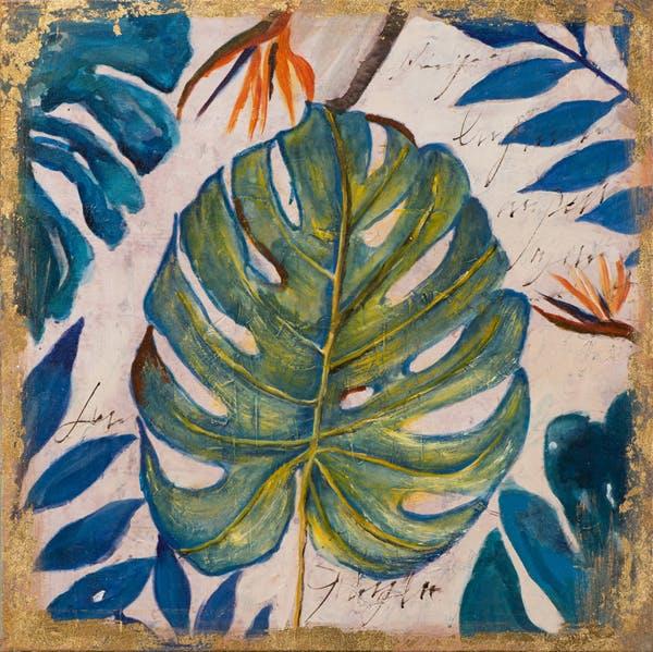 Tableau FLEURS Feuille tropicale tons verts, bleus, et beiges 40x40cm