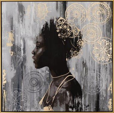 Tableau FEMME Africaine tons blancs, noirs et rosaces dorées 82,5x82,5cm