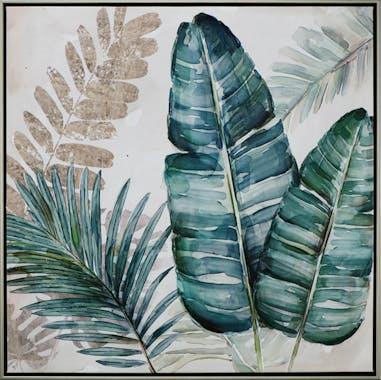 Tableau FLEURS Feuilles tons verts et bleus sur fond beige 62,5x62,5cm