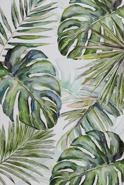 Tableau FLEURS Feuilles tropicals tons verts, bleus, noirs et blancs 60x90cm