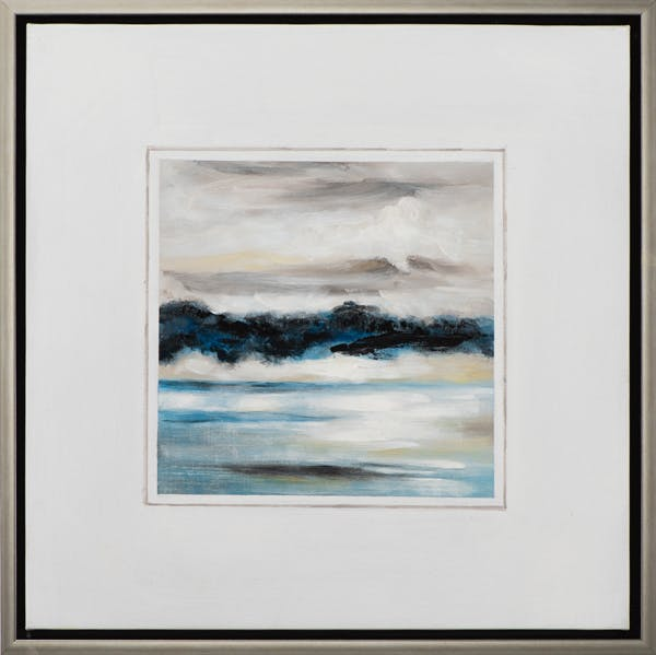 Tableau MARINE mer agitée tons bleus, blancs et beiges 65,5x65,5cm