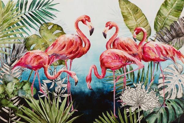 Tableau ANIMAUX Flamands rose, feuilles tropicales et fleurs 80x120cm