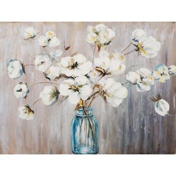 Tableau FLEURS Bouquet dans vase tons blancs, bleus, jaunes et beiges 90x120cm