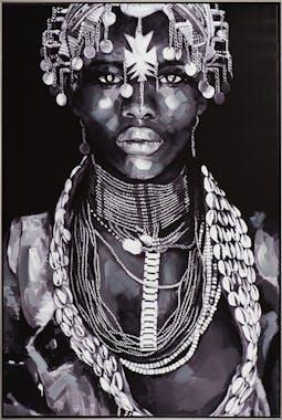 Tableau FEMME Africaine tons noirs et blancs 82,5x122,5cm