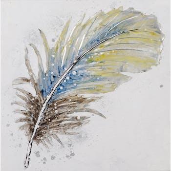Tableau ANIMAUX Plume tons bleus, jaunes et argentés 60x60cm