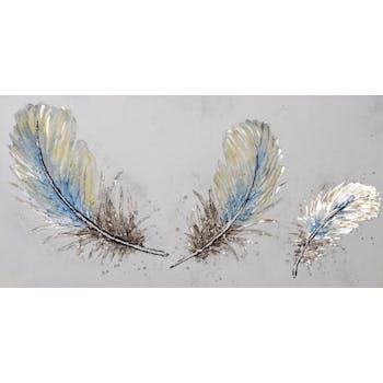Tableau ANIMAUX Plumes tons bleus, argentés et beiges 70x140cm