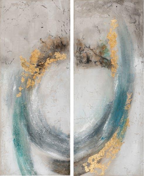 Tableau ABSTRAIT Dyptique dominante beige et tons bleus et dorés 120x150cm