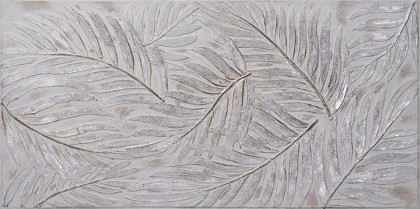 Tableau FLEURS Feuillage tons argentés et beiges 70x140cm
