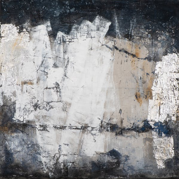 Tableau ABSTRAIT dominante blanche et tons noirs et bleus 115x115cm