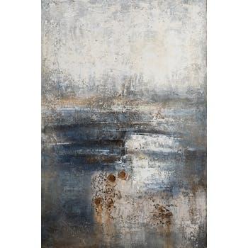 Tableau ABSTRAIT dominante beige et tons noirs, bleus et bruns 100x150cm