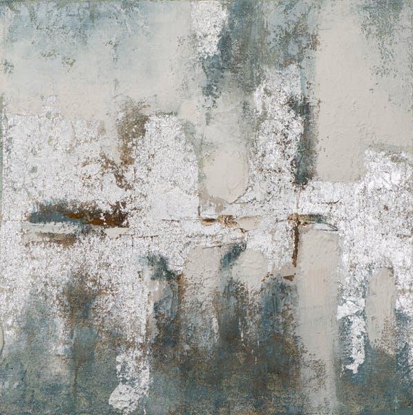 Tableau ABSTRAIT dominante blanche et tons argentés et beiges 80x80cm