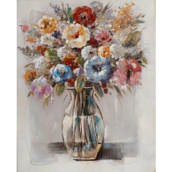 Tableau FLEURS Bouquet multicolore dans vase tons beiges et blancs 80x100cm