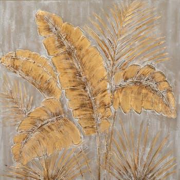 Tableau FLEURS Feuilles tons beiges, bruns et blancs 90x90cm