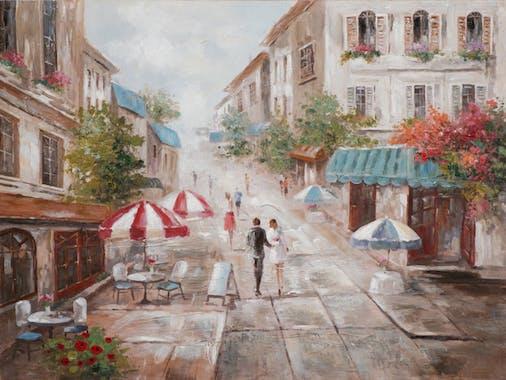 Tableau PAYSAGE URBAIN Couple dans la rue tons beiges et bruns 60x80cm