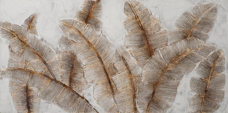 Tableau FLEURS Feuilles tons beiges, bruns et blancs 70x140cm