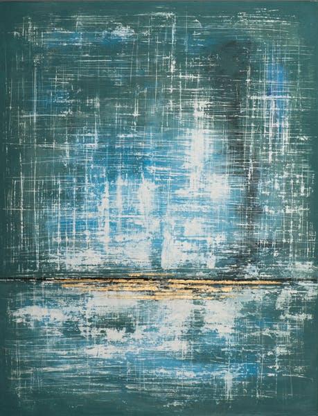 Tableau ABSTRAIT dominante verte et tons bleus et blancs 115x150cm