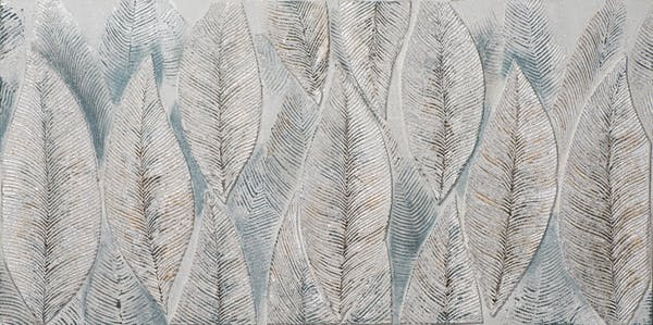 Tableau FLEURS Feuilles tons argentés, bleus et blancs 70x140cm