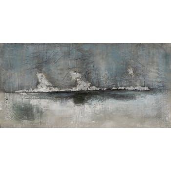 Tableau ABSTRAIT dominante grise et tons bleus et noirs 70x140cm