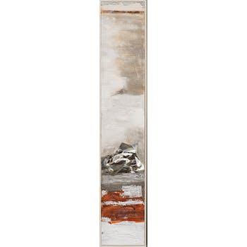 Tableau ABSTRAIT dominante beige et tons rouges et bruns 29x154cm