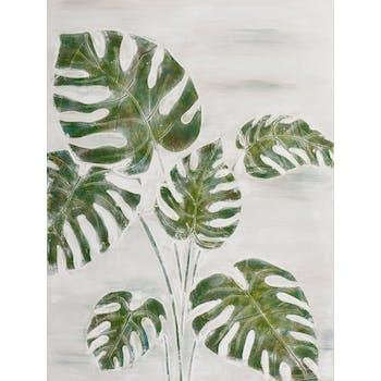 Tableau FLEURS Feuilles tropicales tons verts, blancs et beiges 90x120cm