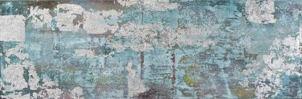 Tableau ABSTRAIT dominante bleue et tons beiges et argentés 50x150cm