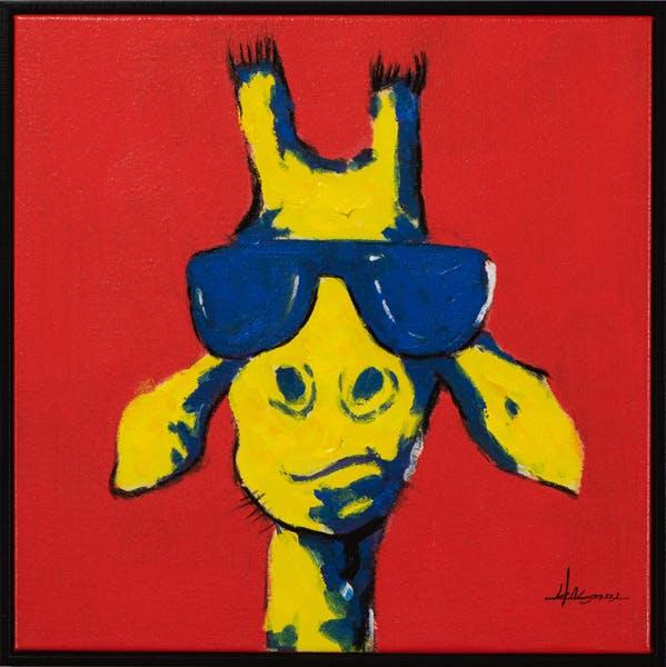 Tableau ANIMAL POP-ART Girafe à lunette tons rouges, jaunes et bleus 42x42cm