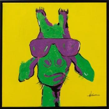 Tableau ANIMAL POP-ART Girafe à lunette tons jaunes, verts et violets 42x42cm