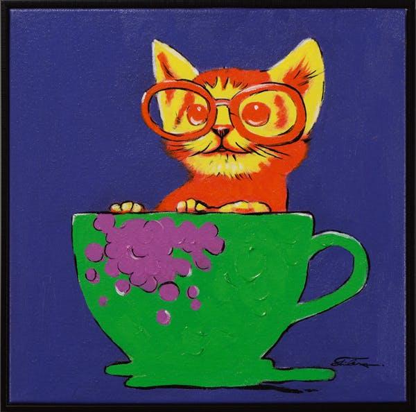Tableau ANIMAL POP-ART Chaton dans une tasse tons bleus, verts et jaunes 42x42cm