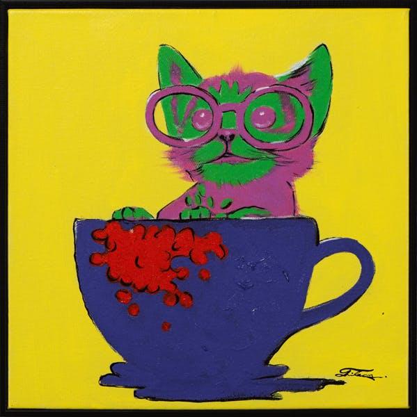 Tableau ANIMAL POP-ART Chaton dans une tasse tons jaunes, bleus et verts 42x42cm