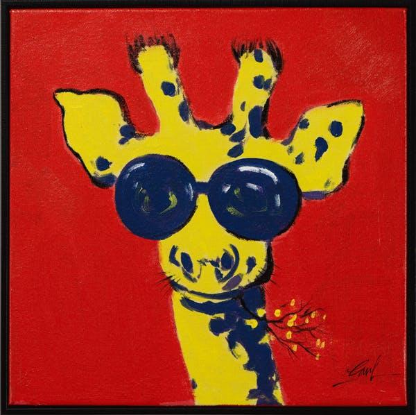 Tableau ANIMAL POP-ART Girafe tons rouges, jaunes et bleus 42x42cm