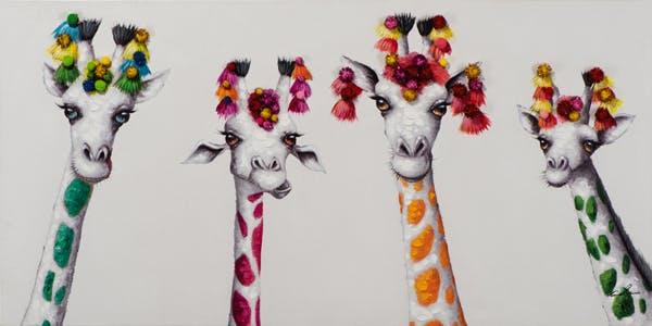 Tableau ANIMAL POP-ART Girafes multicolores sur fond blanc 70x140cm