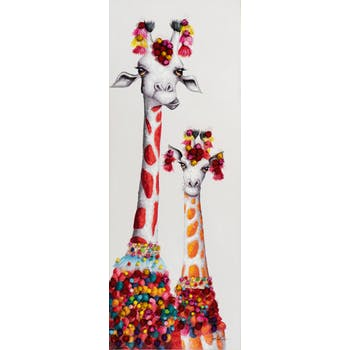 Tableau ANIMAL POP-ART Girafe et girafon tons orange et rouges 60x160cm