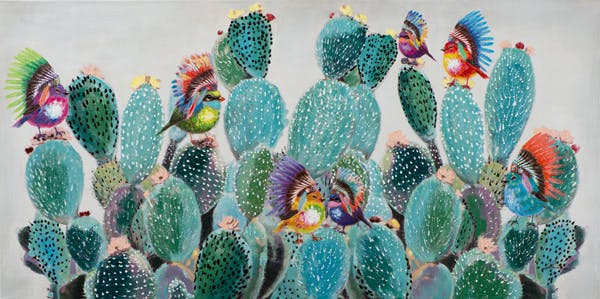 Tableau ANIMAL POP-ART Oiseaux avec couvre-chef sur cactus multicolores 70x140cm