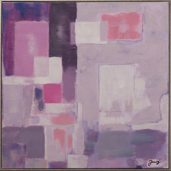 Tableau ABSTRAIT tons rose, violets et blancs 72x72cm