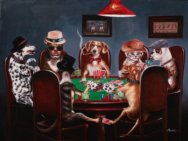 Tableau ANIMAUX Chiens et chats jouant au poker 90x120cm