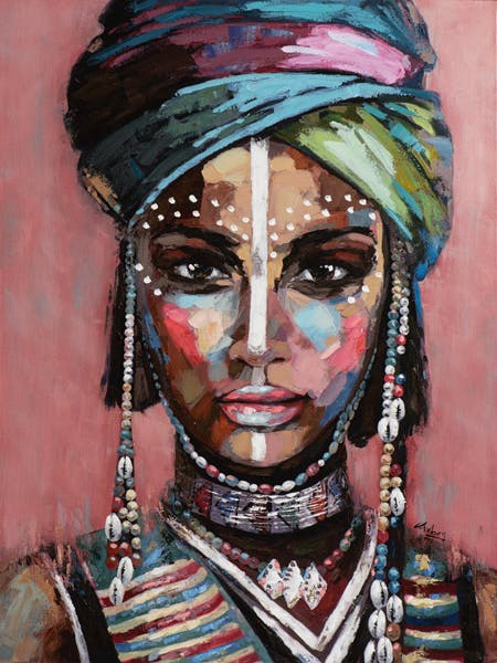Tableau FEMME Africaine multicolore 90x120cm