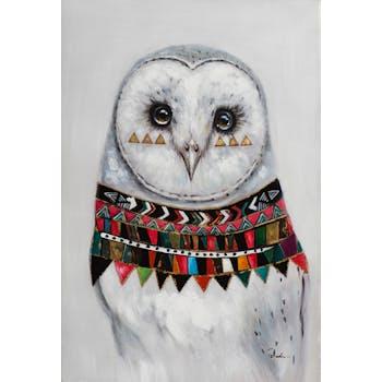 Tableau ANIMAL POP-ART Chouette avec collier multicolore 80x120cm