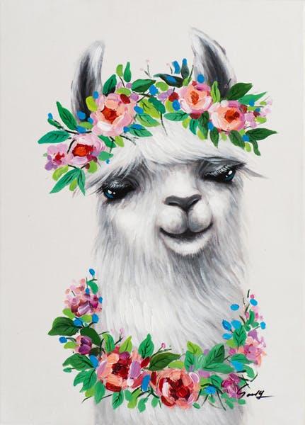 Tableau ANIMAL POP-ART Lama avec collier et couronne de fleurs 50x70cm