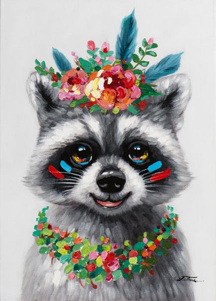Tableau ANIMAL POP-ART Raton Laveur avec collier et couronne de fleurs 50x70cm