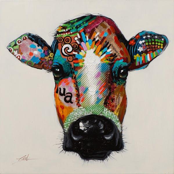 Tableau ANIMAL POP-ART Vache multicolore 70x70cm