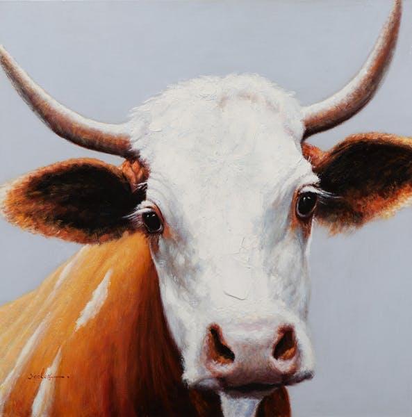 Tableau ANIMAUX Vache tons blancs, bruns et noirs 100x100cm