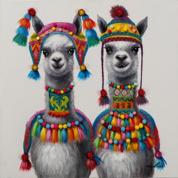 Tableau ANIMAL POP-ART Lamas avec tenues péruviennes multicolores 80x80cm