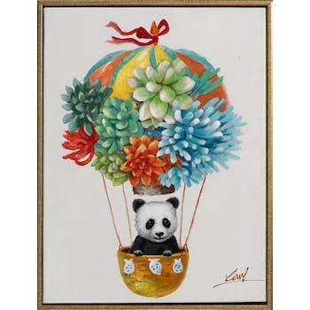 Tableau ANIMAL POP-ART Mongolfière et panda 32x42cm