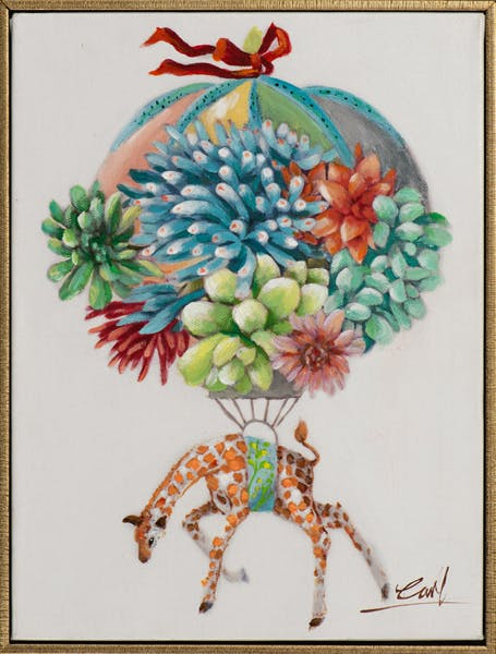 Tableau ANIMAL POP-ART Mongolfière et girafe colorée 32x42cm