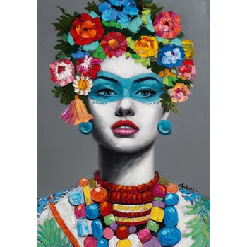 Tableau FEMME POP-ART avec fleurs dans les cheveux 70x100cm